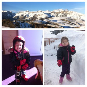 Valberg from the top; Miss G ready for her first ski lesson; G lovin the snow!