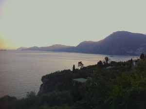 Sunset view from restaurant Hosteria il Pino in Priano.